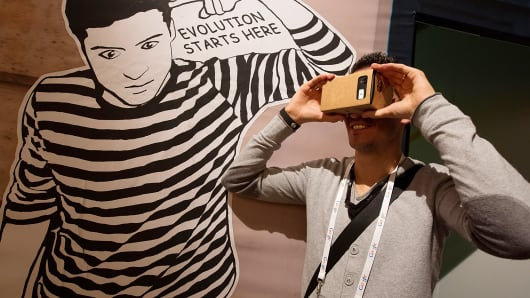 A Google Cardboard virtual reality headset for Android smartphones is shown during a promotional event in Paris.