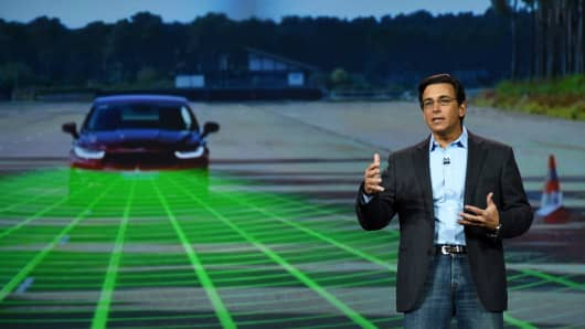 President and CEO of Ford Mark Fields delivers a keynote address at the 2015 International CES earlier this month in Las Vegas.