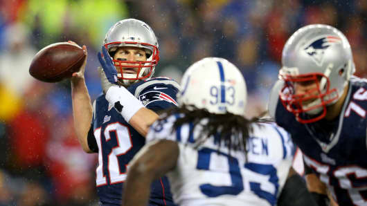 Tom Brady of the New England Patriots against the Indianapolis Colts during the 2015 AFC championship game, Jan. 18, 2015 in Foxboro, Mass.