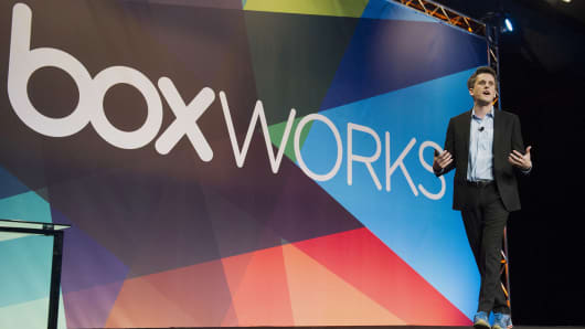 "Box co-founder and CEO Aaron Levie speaks during the BoxWorks ""How Tomorrow Works"" event in San Francisco on Sept. 3, 2014."