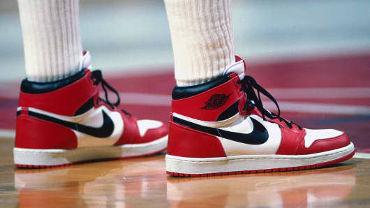 Chicago Bulls' Michael Jordan sports his Nike Air Jordan sneakers during a game against the Washington Bullets in Landover, Maryland, in 1985.