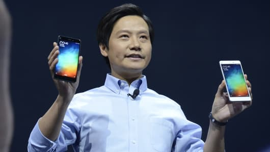 Lei Jun, chairman and CEO of China's Xiaomi, presents the company's new product, the Mi Note, in Beijing, China, Jan. 15, 2015.