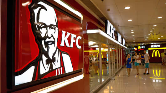 A KFC restaurant is shown in a shopping mall in Beijing.