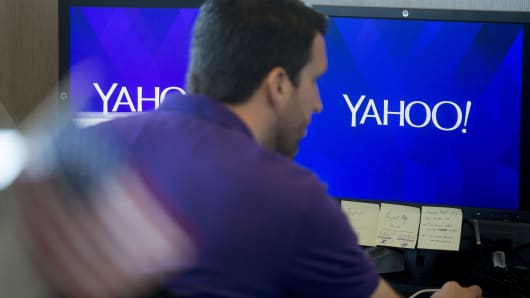 An employee works at the Yahoo! Inc. Customer Care Center of Excellence in Amherst, New York, U.S., on Friday, Sept. 26, 2014. Yahoo Inc.