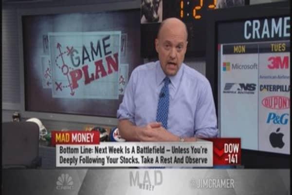 Cramer: Overwhelmed with earnings next week