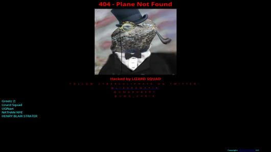 Screen grab of the defaced Malaysia Airlines website, believed to have been hacked, on the morning of January 26, 2015, local time.