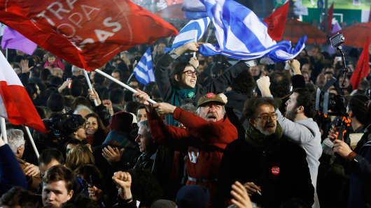 Supporters of Greece's leftist Syriza party after it won elections in January