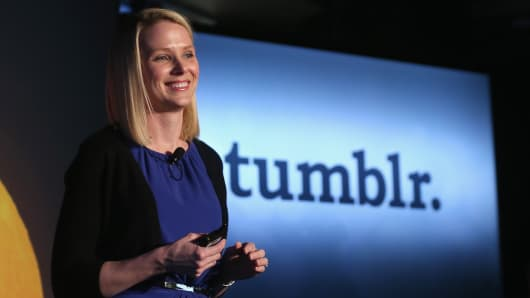 Yahoo! CEO Marissa Mayer speaks about the company's acquisition of Tumblr on May 20, 2013 in New York City.