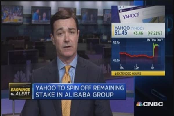 Yahoo soars on BABA spin-off