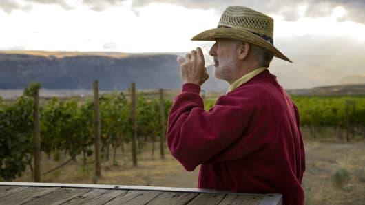 Senior man vineyard