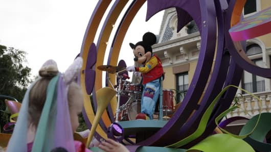 Mickey Mouse performs during a parade at Disneyland where over 70 people have been infected by a measles outbreak linked to the park.