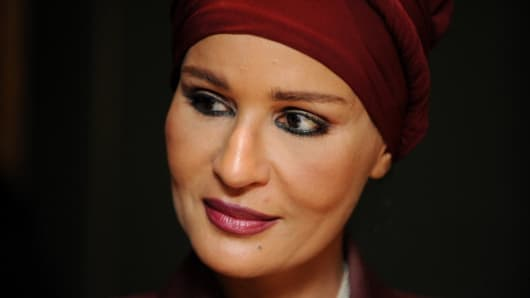 Sheikha Mozah, the wife of Qatar's Emir, Sheikh Hamad bin Khalifa al-Thani.