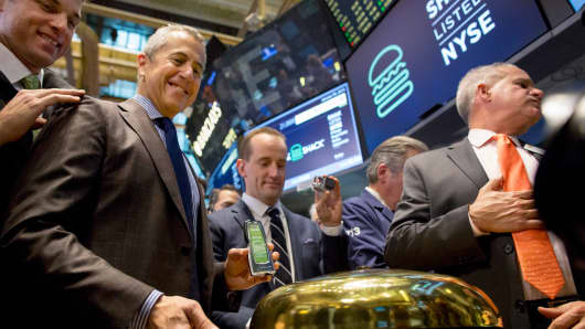 Shake Shack founder Danny Meyer rings a ceremonial bell during the company's IPO on the floor of the New York Stock Exchange on Jan. 30, 2015.