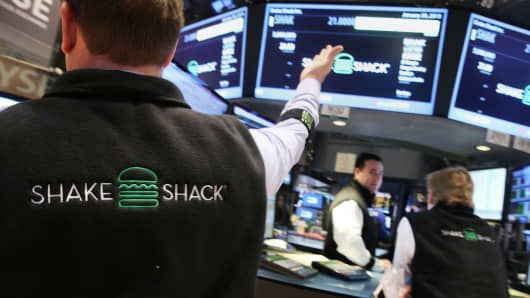 Traders work on the floor of the New York Stock Exchange on January 30, 2015, the day of the Shake Shack IPO.