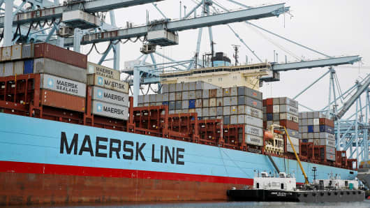 A Maersk Line container ship is unloaded and refueled at the Port of Los Angeles in San Pedro, Calif.