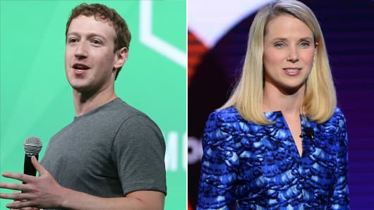 Facebook CEO Mark Zuckerberg and Yahoo CEO Marissa Mayer
