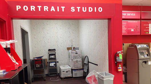 A former Kmart portrait studio is now used for storage.
