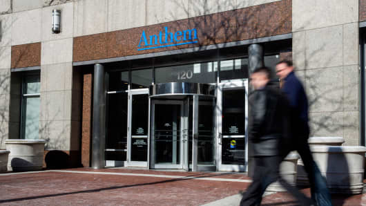 The Anthem Health Insurance headquarters in Indianapolis, Indiana.