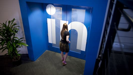 The LinkedIn offices are shown at the company's headquarters in Mountain View, Calif.
