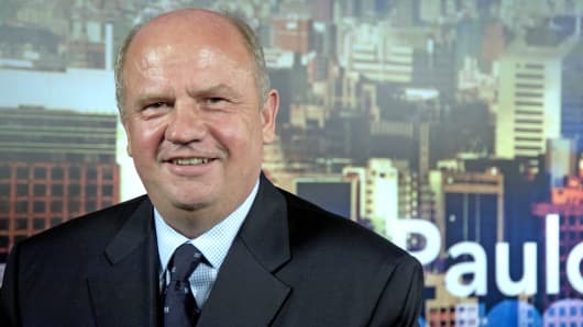 Agco CEO Martin Richenhagen poses for a photograph in Sao Paulo, Brazil, Oct. 5, 2011.