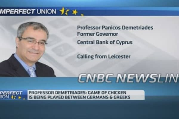 Greece, Germany in 'game of chicken': Ex-Cyprus central banker