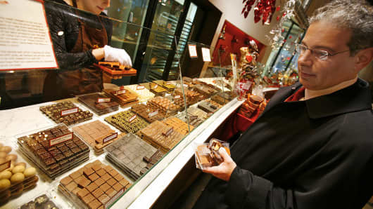 Customers shop at the Jacques Torres Chocolate Heaven store in New York.