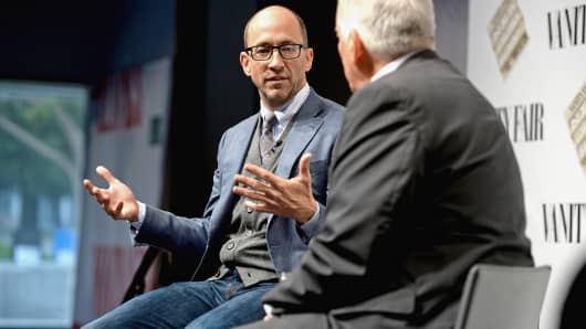 "Twitter CEO Dick Costolo and Aspen Institute President and CEO Walter Isaacson speak during ""Social Goes Global"" at the Vanity Fair New Establishment Summit, Oct. 9, 2014, in San Francisco."