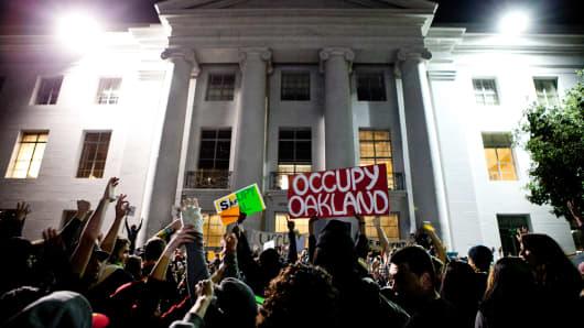 """University of California, Berkeley attend an """"open university"""" strike in Nov. 15, 2011 in Berkeley, Calif."""