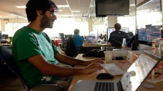 Millennials working computer