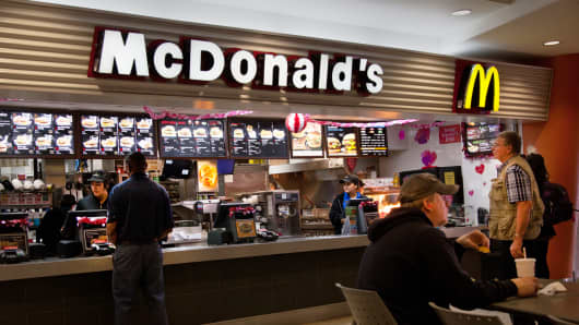 Customers visit a McDonald's restaurant in Dallas.