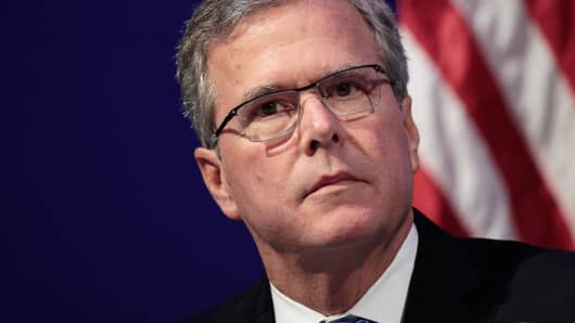 Former Florida Governor Jeb Bush waits to address the Detroit Economic Club about his &quotReform Conservative Agenda&quot in Detroit, Michigan, February 4, 2015.