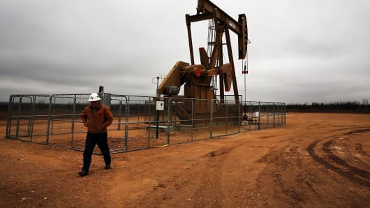 An oil well owned an operated by Apache Corp. in the Permian Basin, Garden City, Texas.