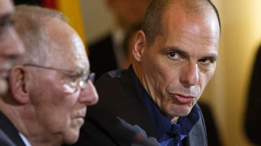Greek Finance Minister Yanis Varoufakis and German Finance Minister Wolfgang Schaeuble.