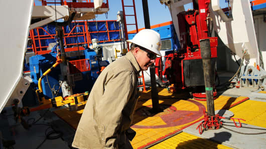 A worker on a drilling rig in Texas.