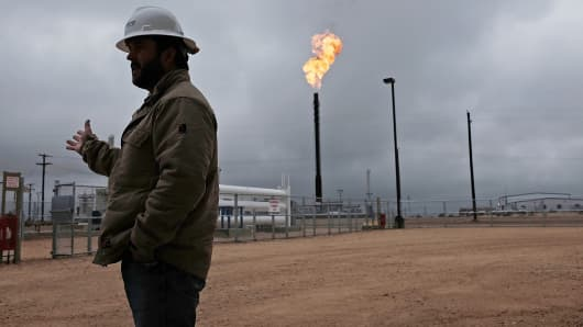 An oil well in the Permian Basin is shown in Garden City, Texas, Feb. 5, 2015.