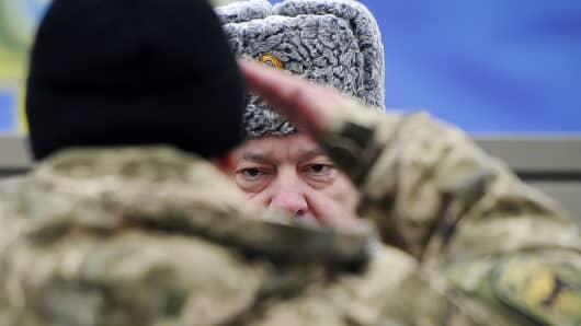 Ukraine's President Petro Poroshenko attends a ceremony at the training center of the Ukrainian National Guard outside Kiev.