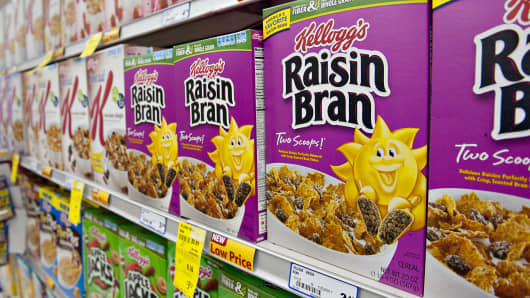 Kellogg's Raisin Bran brand breakfast cereal sits on display in a supermarket in Princeton, Ill.