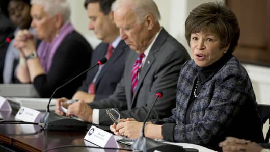 White House Senior Adviser Valerie Jarrett (right) is shown during a Nov. 13, 2014, meeting at the White House.