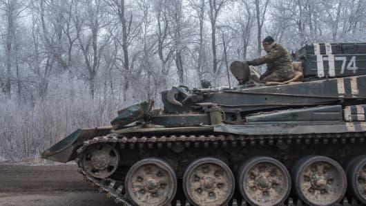 A Ukrainian personnel carrier travelling towards Debaltseve, Ukraine on February 15, 2015