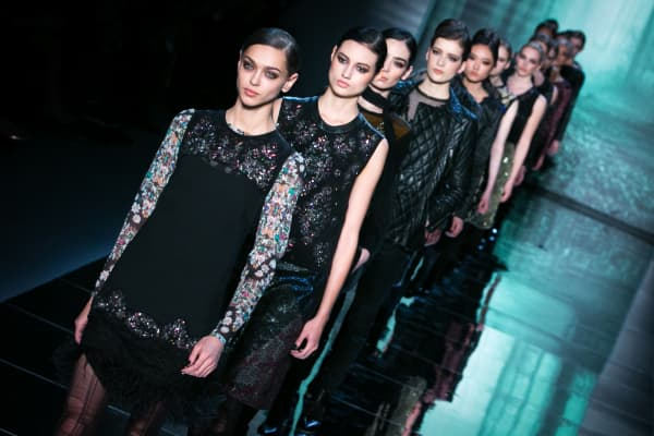Models walk the runway during the Nicole Miller fashion show in New York.