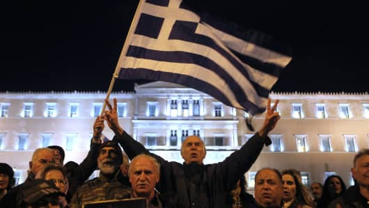A pro-government rally in front of the Greek Parliament in Athens, Greece on February 16, 2015