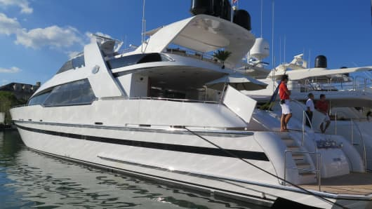 A yacht on display the Miami Boat Show in Miami, Florida.