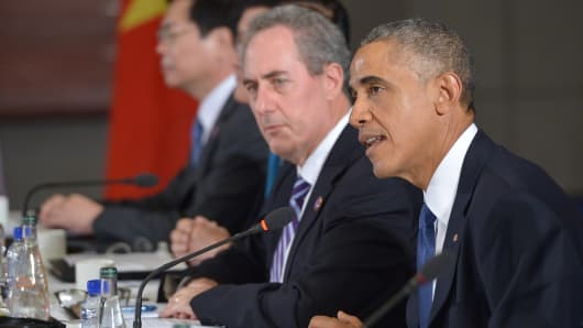 President Barack Obama speaks during a meeting with leaders from the Trans-Pacific Partnership at the US Embassy in Beijing on November 10, 2014.