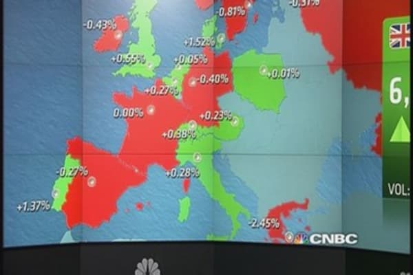Europe shares end mixed after data; Greece in focus
