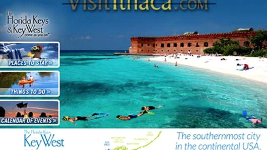 VisitIthica.com surrenders to winter and promotes the Florida Keys on their homepage.