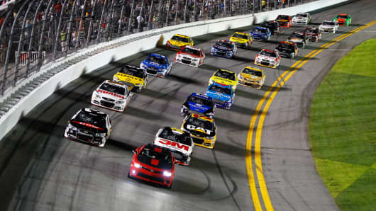 The pace car leads the field during the NASCAR Sprint Cup Series Budweiser Duel 1 at Daytona International Speedway on February 20, 2014 in Daytona Beach, Florida.