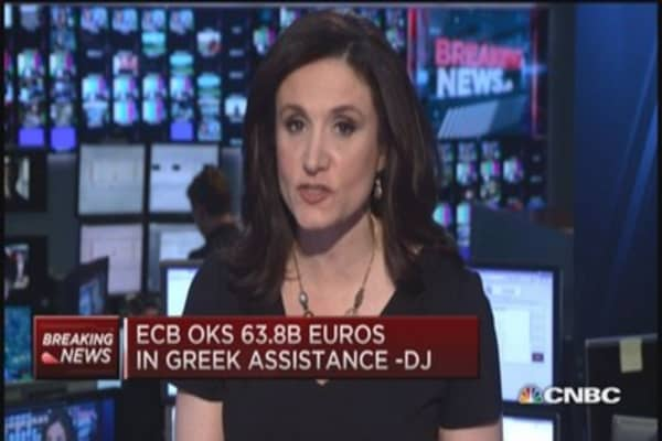 ECB approves 63.8 billion euros in Greek assistance: DJ
