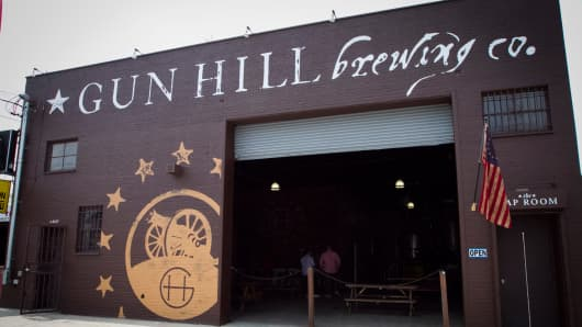 The exterior of Gun Hill Brewing in the Bronx, NY.