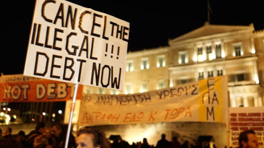 Protesters take part in an anti-austerity pro-government demonstration in Athens at the height of the Greek crisis.