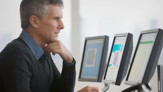 Businessman computers